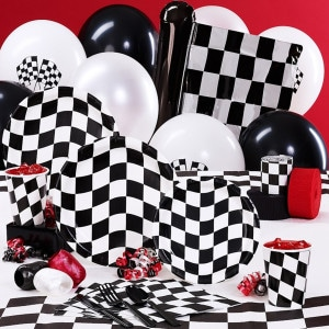 Black and White Checks Birthday Party Supplies