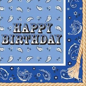 Blue Bandana General Birthday Party Supplies