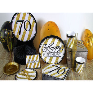 Happy Birthday Black and Gold General Party Supplies