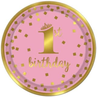 Pink and Gold 1st Birthday Girl Party Supplies