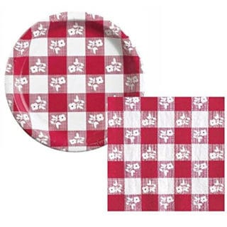 Red Gingham General Birthday Party Supplies